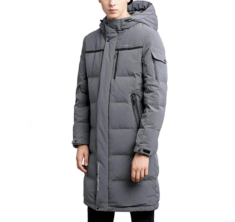 Abrigo largo de la marca Bosideng color gris (color negro también disponible).