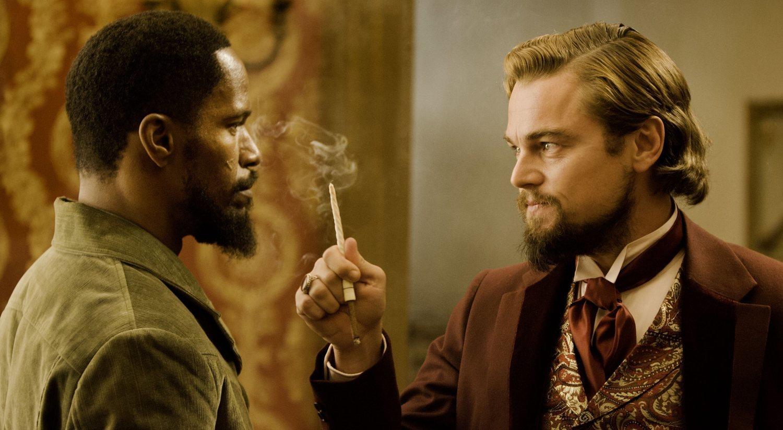 Jamie Foxx y Leonardo DiCaprio ambos luciendo una barba duckatail en la película 'Django' de Tarantino