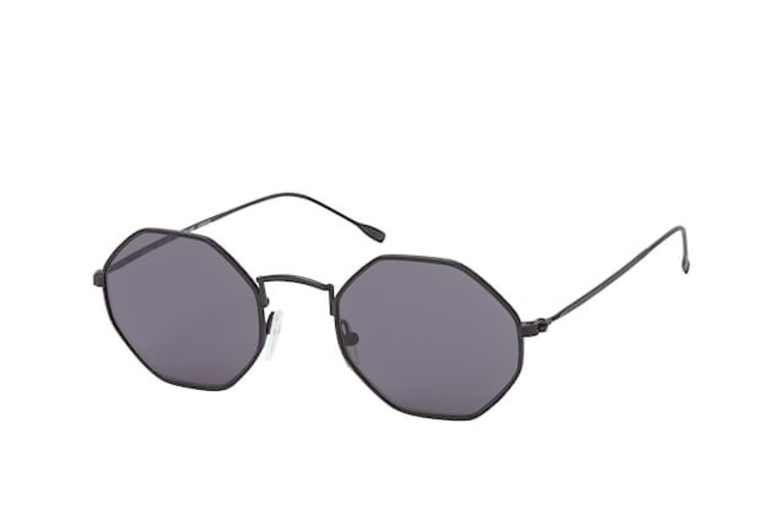 Gafas octogonales con montura negra fina.