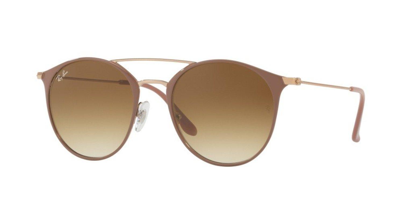 Gafas Ray-Ban ovaladas marrones con doble puente.