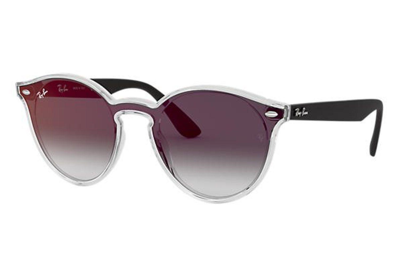 Gafas Ray-Ban con lentes grises degradadas y montura transparente de la colección Blaze.