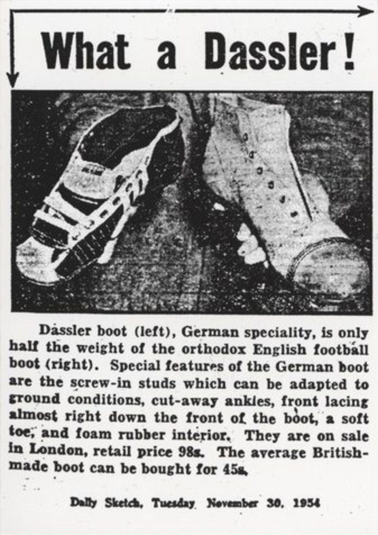 Alemania Occidental ganó el Mundial de 1954 y las botas diseñadas por 'Adi' Dassler, usadas por los jugadores, asombraron a todo el público.
