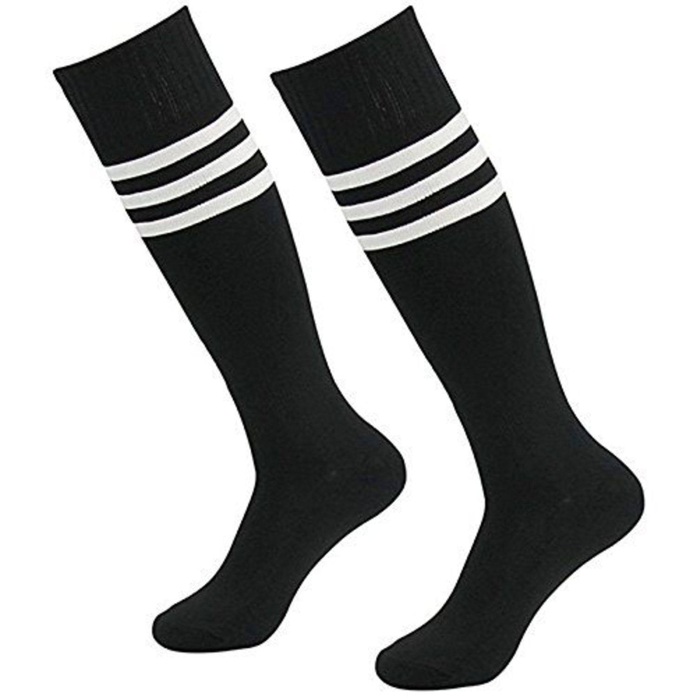 Calcetines negros con tres rayas blancas (más colores disponibles).