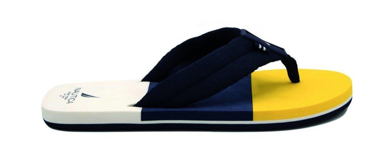 En colores amarillo, azul y blanco, con tira de tela