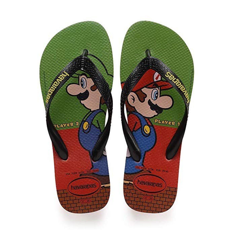 Flip-flops con diseño de Mario y Luigi; de Havaianas