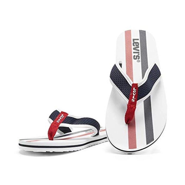 Flip-flops blancas con tira de tela y suela de goma