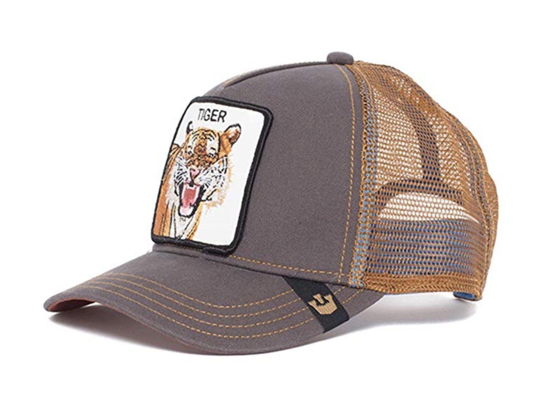Gorra trucker marrón con el dibujo de un tigre en la corona.