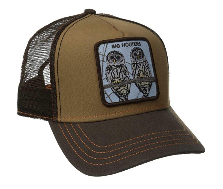 Gorra trucker marrón con el dibujo de dos búhos.