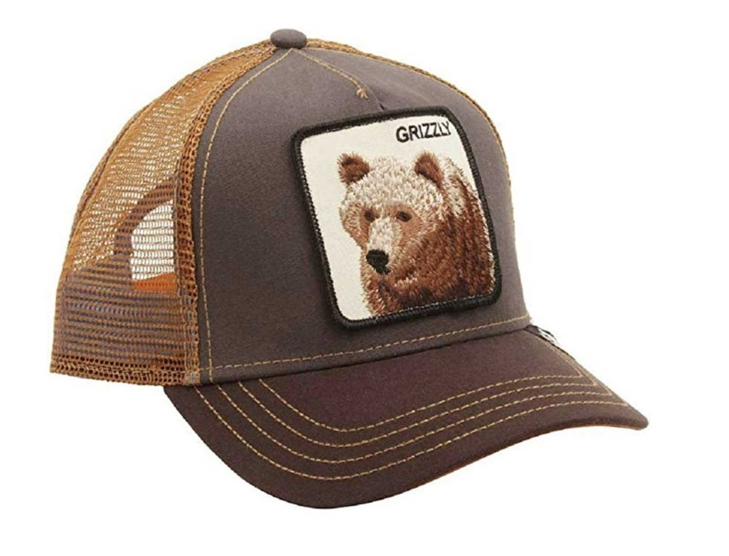 Gorra trucker marrón de oso grizzly.