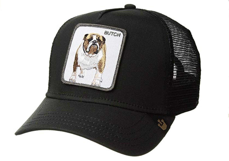 Gorra trucker negra con la imagen de un bulldog.
