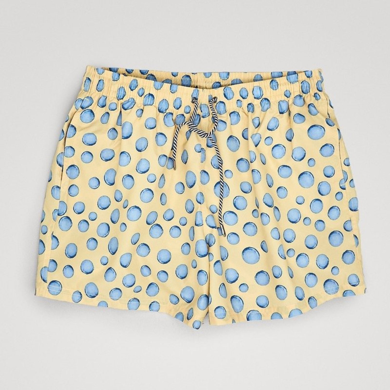 Bañador con estampado de gotas en amarillo y azul