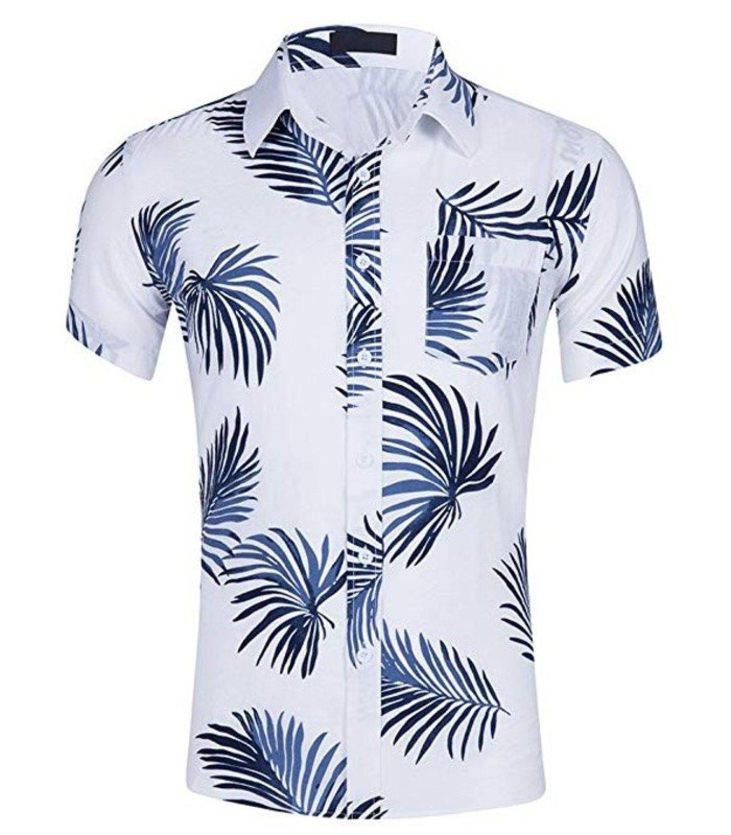 Camisa blanca con vegetales en tono azul