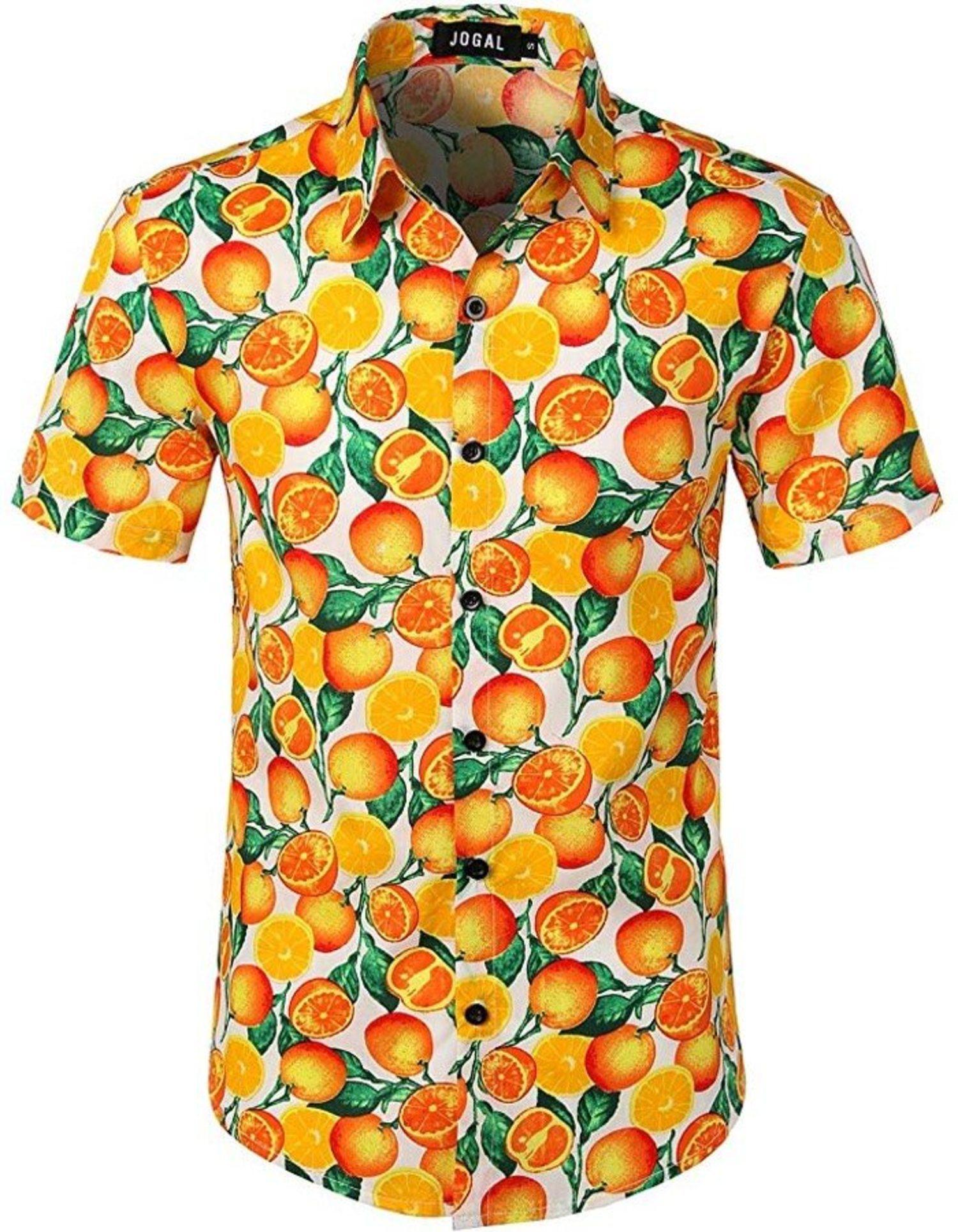 Camisa con fondo de naranjas, el paraíso del zumo