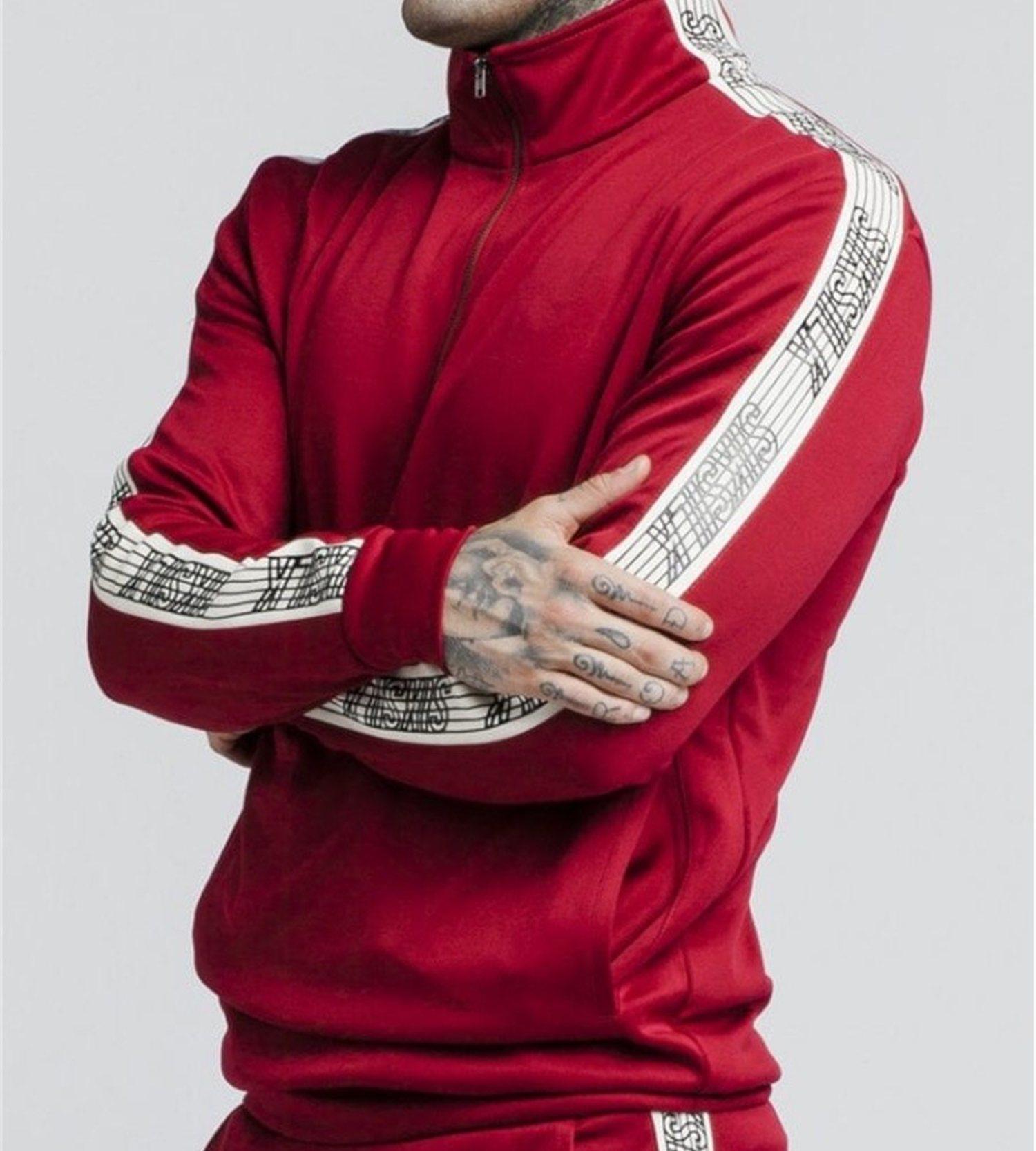 Sudadera roja con media cremallera y banda lateral