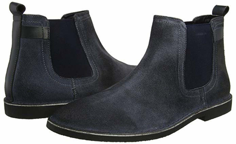 Botas Chelsea azules de cuero y revestimiento de tela de la marca Joe Browns.