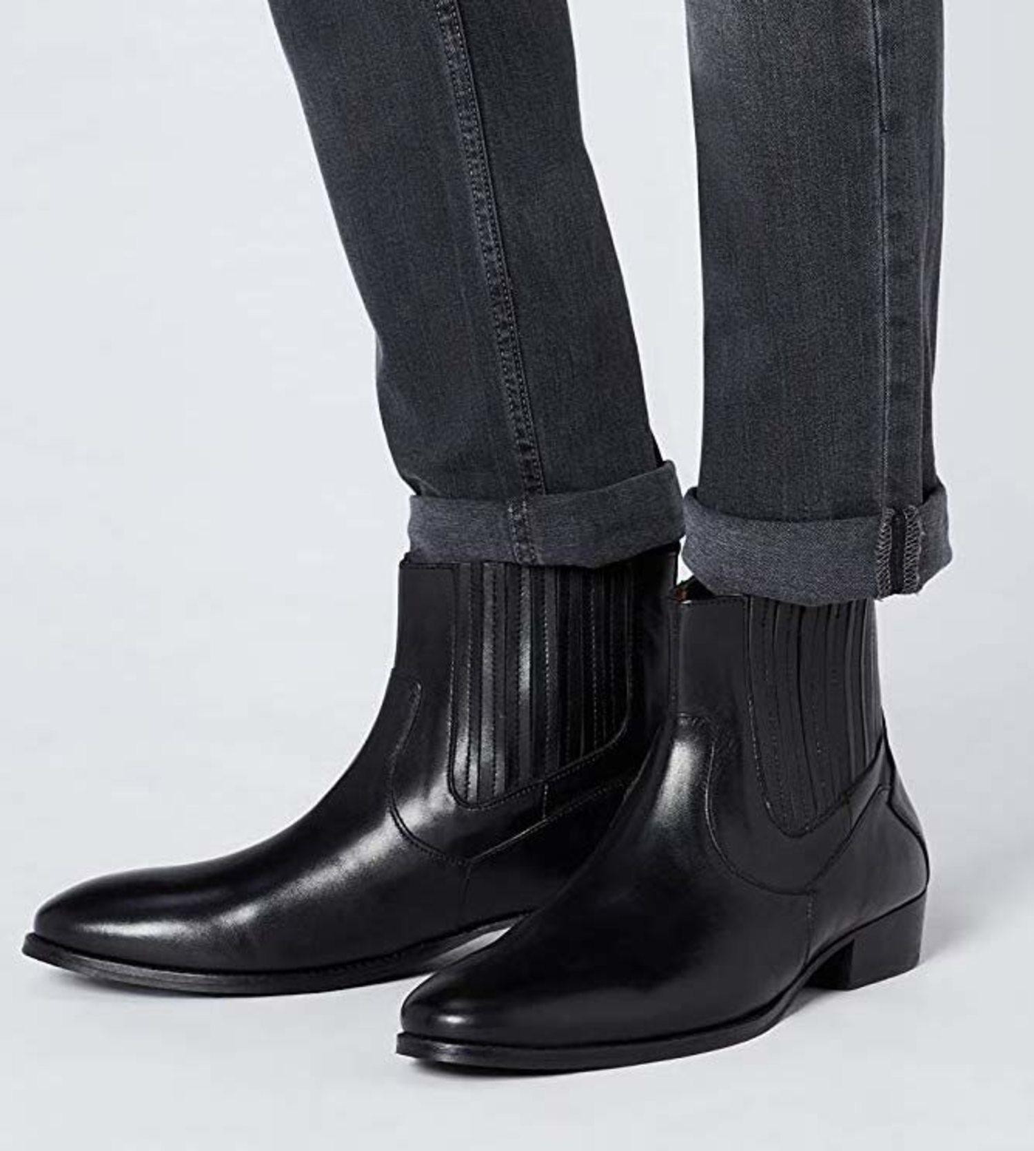 Botas Chelsea negras de cuero de la marca Find.
