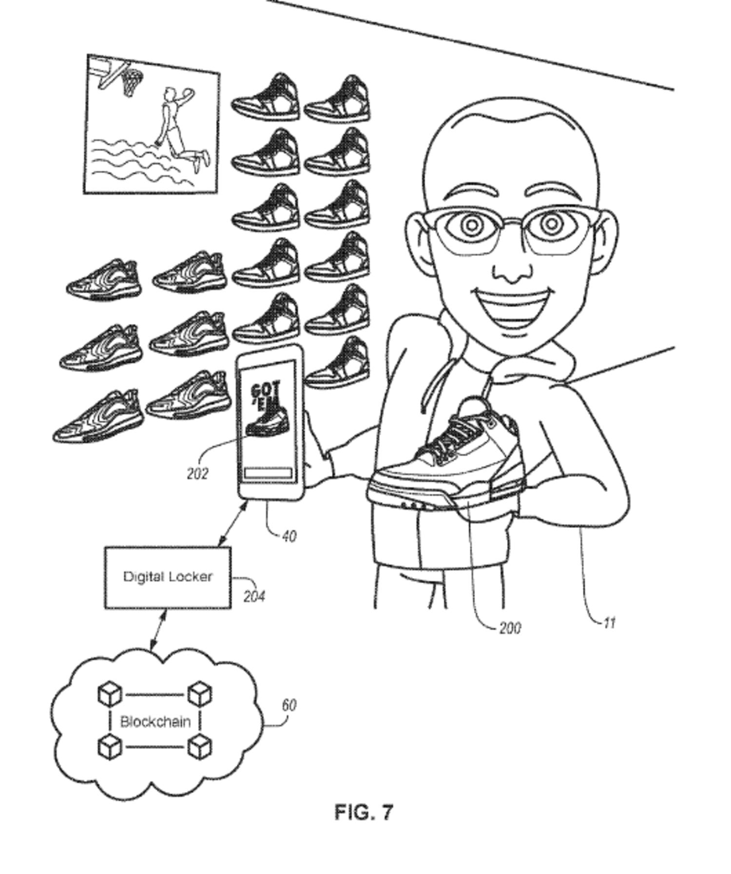 La patente muestra la interacción de las zapatillas y su certificado a través de un móvil.