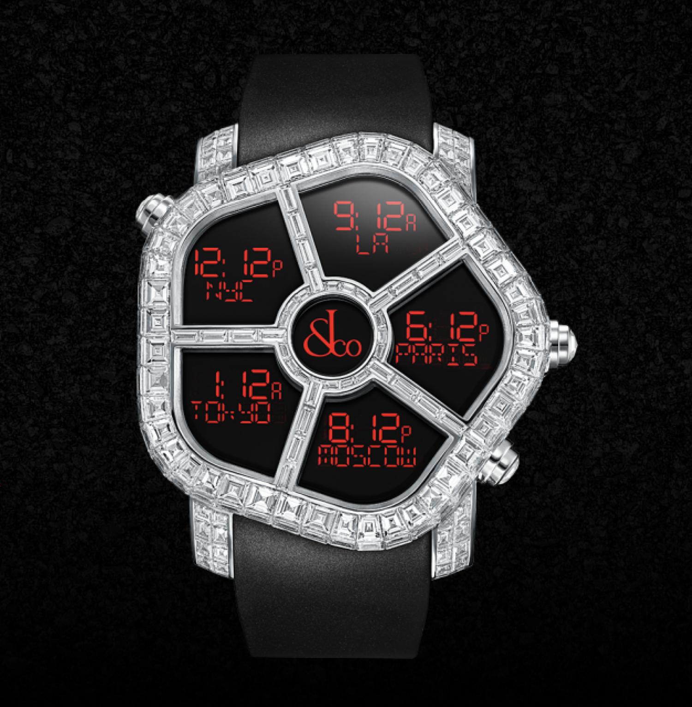 Los diamantes baguette (rectangulares) separan los cinco relojes en uno de este modelo, cada uno de una región diferente (se pueden elegir cuáles).